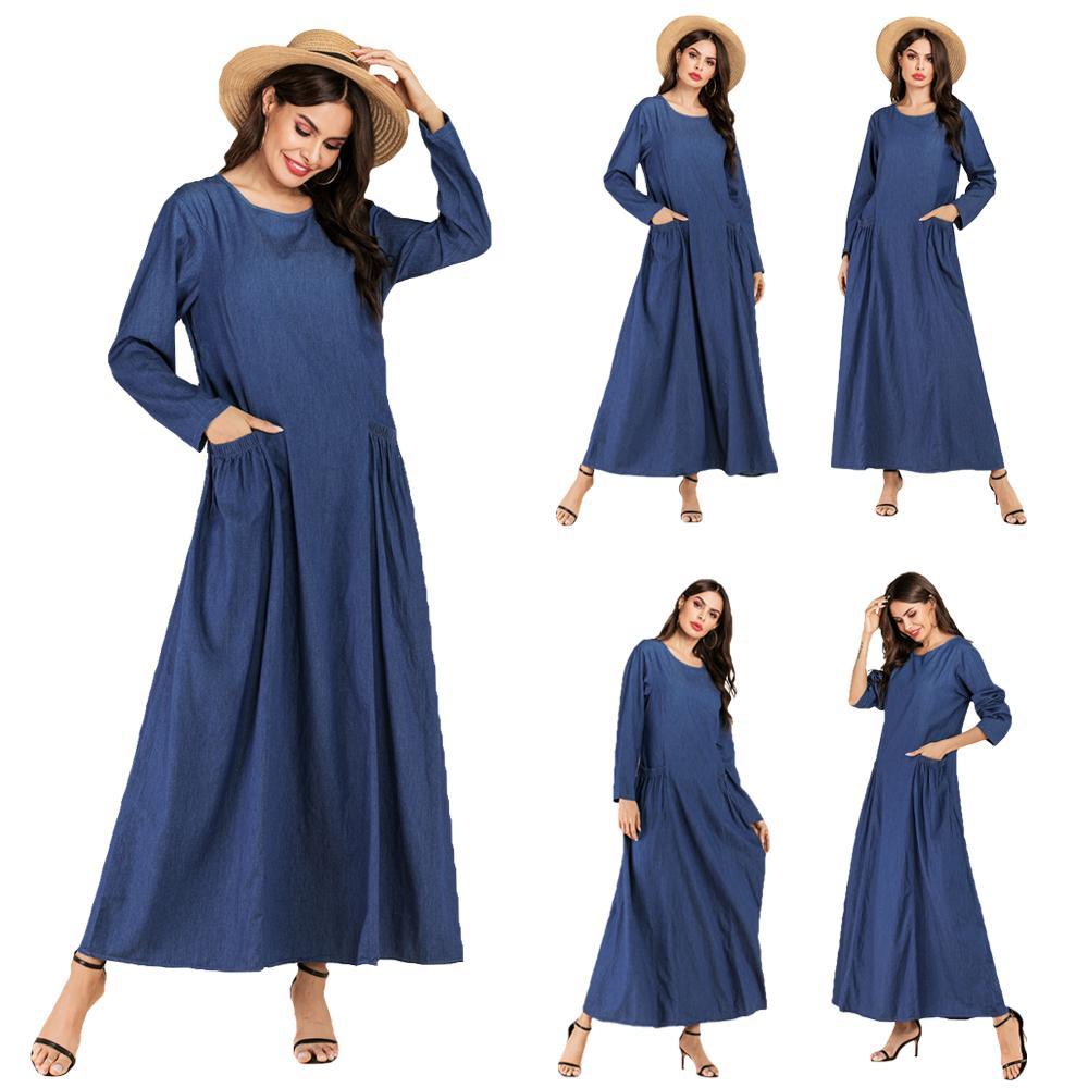 New Muslim Women Maxi Dress Abaya Denim Kaftan Robe Pockets Long Sleeve Gown Loose Casual Islamic Clothing Arab Autumn Fashion