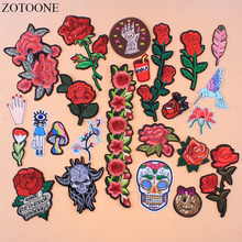 ZOTOONE Rose Embroidered Iron On Skull Bird Patches For Clothing DIY Stripes Clothes Patchwork Sticker Flowers Patch Applique E