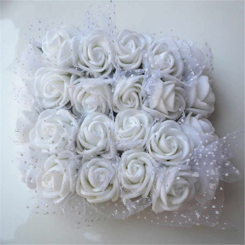 2 CM 144 pcs צבעים PE עלה קצף מיני מלאכותי משי פרחים זר מוצק צבע חתונה דקורטיבי פרחים זרי מתנה 6Z