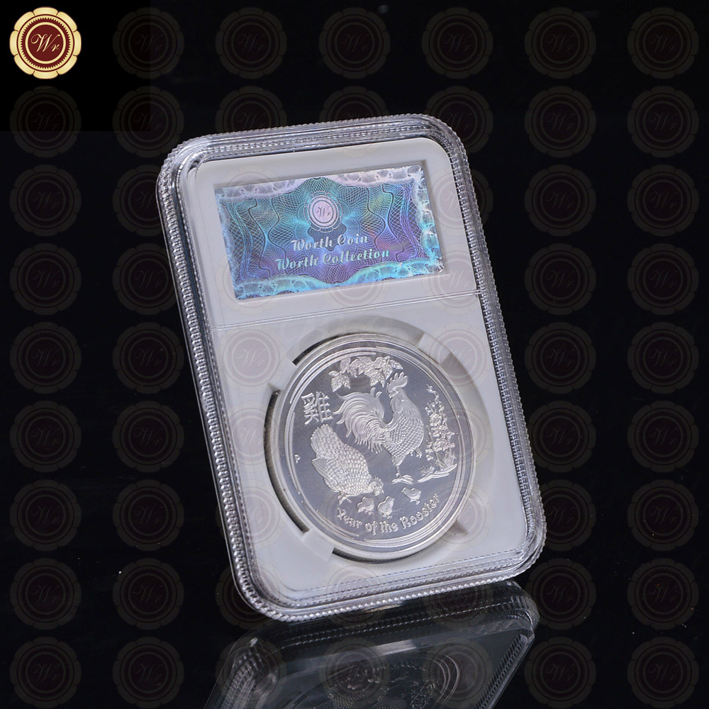 US $5 0 |WR Silver Coin 2017 Rooster Coin Metal Souvenir Coin with Stand  Queen Elizabeth II Coin Best Gift Art Crafts Birthday Gifts-in Non-currency