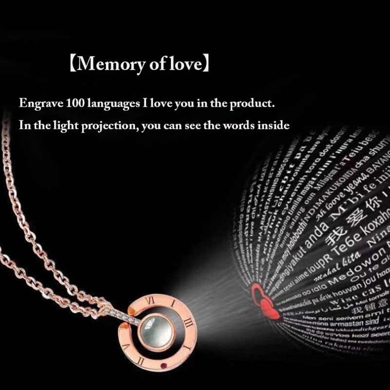 1243354c4 ... 2018 New Arrival Rose Gold&Silver 100 languages I love you Projection  Pendant Necklace Romantic Love Memory ...