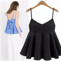 XL 5XL Big Size Women Summer Camis Tops Backless Stapless Tank Tops Adjustable Sleeveless Camis Peplum