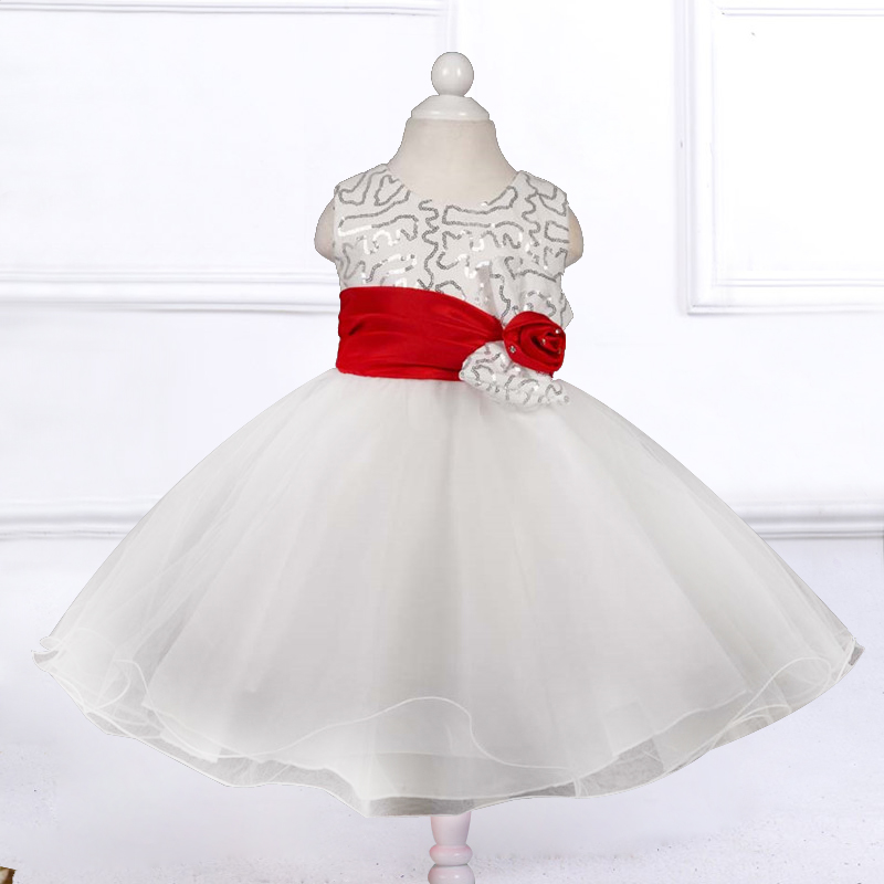 Retail flower girl dresses for weddings 4 colors,Girl Sequins party dress with flower red Belt free shipping L8087