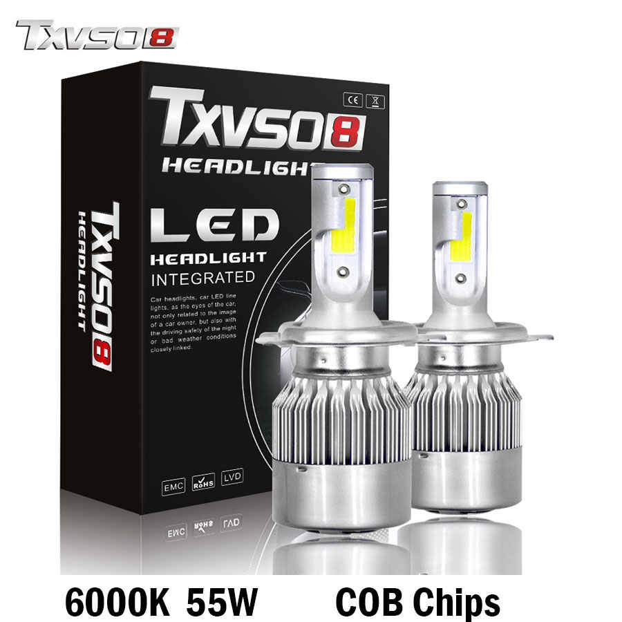 TXVSO8 led H7 H4 Car Headlight Bulbs H1 H4 9005 Kit COB Chips 26000LM 6000K 55W Automotivo bombillas 9006 Led Lamp Bulb light