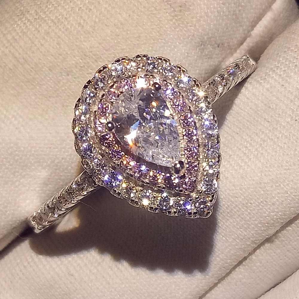 Сверкающие Виктория Роскошные ювелирные изделия ручной работы из чистого 100% 925 пробы серебро подарок для Для женщин капли воды белый и розовый 5A Pave CZ свадебные