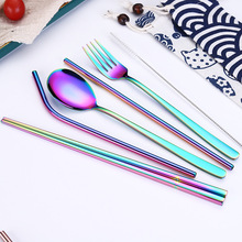 Stainless Steel Flatware Set Metal Straw Chopsticks Spoon Fork Cutlery with Bag Travel set