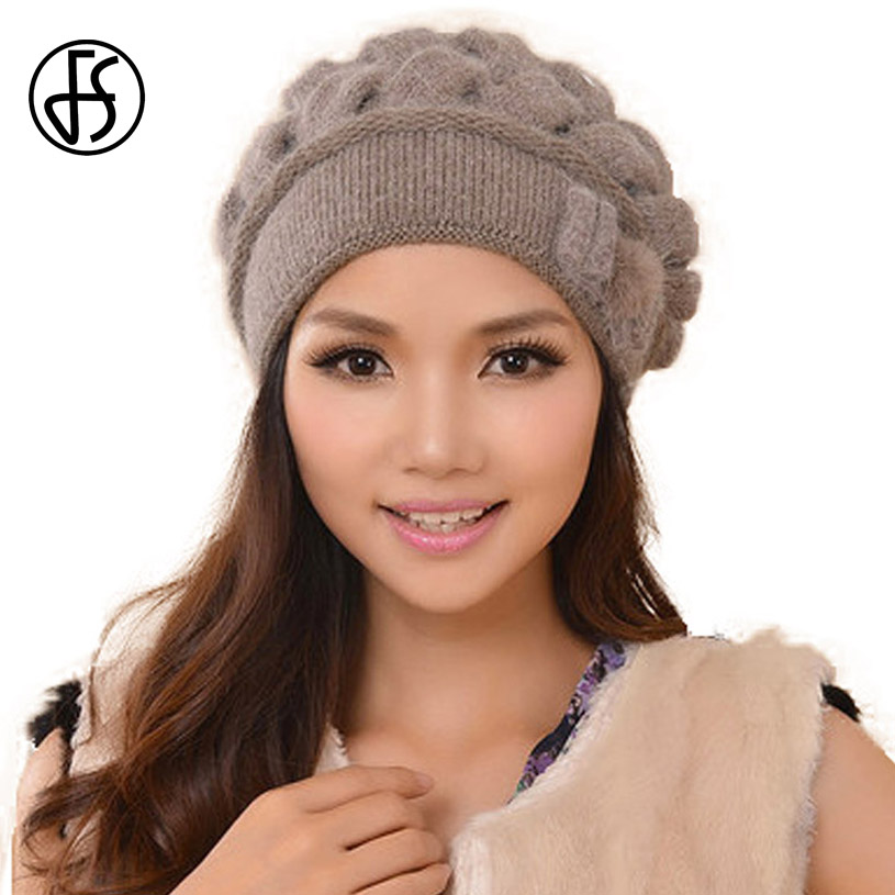 FS Fashion Rabbit Wool Women Caps Thermal Warm   Skullies   Double Layer Knitted Winter Hat Ear Protect   Beanies   Gorra Hats Invierno