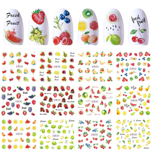 12 Designs Nail Art Sticker Slider Water Decals Summer Cherry Strawberry Fruit for Transfer Manicure Tip Decoration JIBN829 840