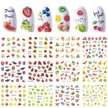 12 diseños de pegatinas para uñas, calcomanías al agua deslizantes, fruta de cereza, fresa, para transferencia de punta para manicura, decoración, JIBN829 840