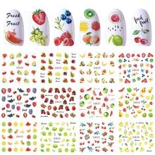 12 wzorów paznokci naklejka artystyczna suwak woda kalkomanie lato wiśnia truskawka owoce do transferu Manicure ozdabianie tipsów JIBN829 840