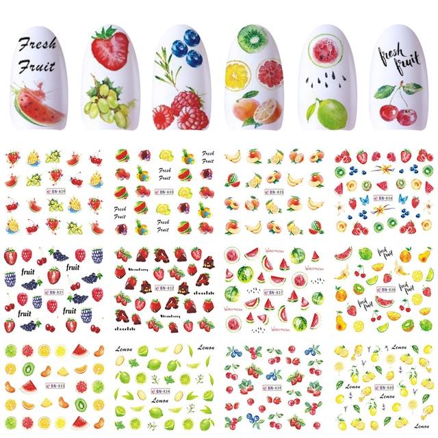 12 تصاميم مسمار الفن ملصق المنزلق المياه الشارات الصيف الكرز الفراولة الفاكهة لنقل مانيكير تلميح الديكور JIBN829 840