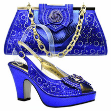 6f5ee8e403bf Italian shoes and bag matching set for african aso ebi wedding party royal  blue pumps with