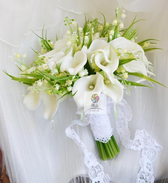 Handmade Hochzeit Braut Brautjungfer Bouquet Weisse Calla Lilien