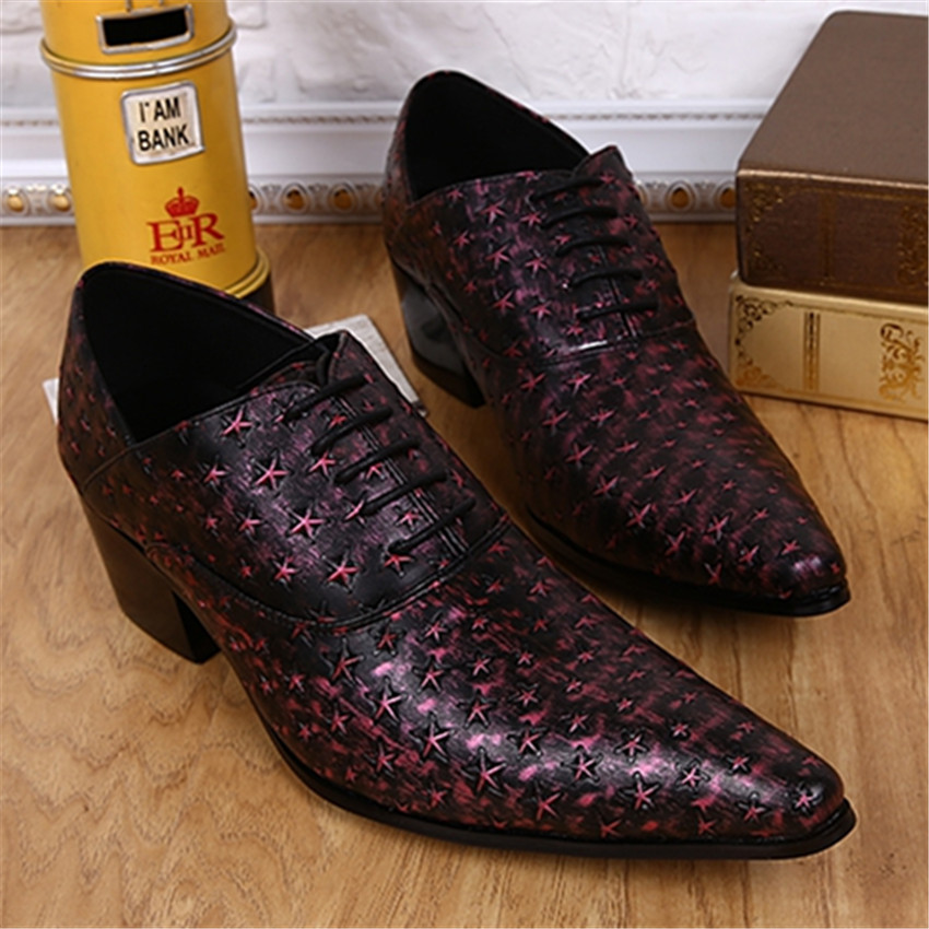 2017 New Purple Star Print Men Pointed Toe Leather Shoes Mens Lace Up Wedding Dress Oxfords Flat Shoes Creepers Chaussure Homme