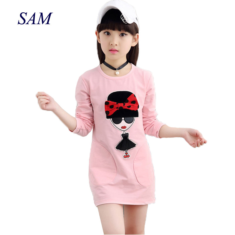 Girl T-Shirts Clothing Tops Long-Sleeve Print Kids Cotton Spring-Fashion-Brand Bow Domeiland