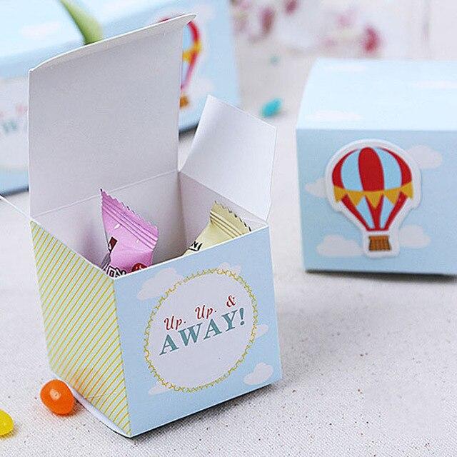 50pcs/lot Blue Green Stripe Hot Air Balloon Wedding Candy Box DIY Baby Birthday Candy