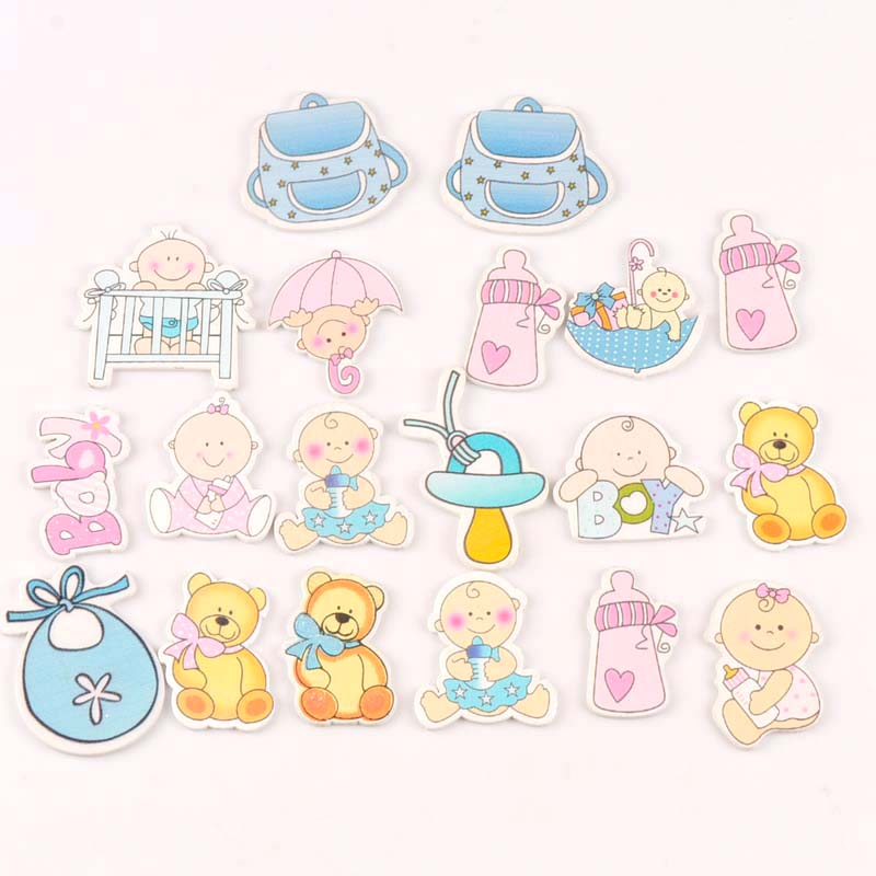 20pcs 25-35mm Home Decoration No Holes Mixed Pink/blue Wood DIY Crafts Lovely Baby Painted Wooden Handmade Embellishments M0897