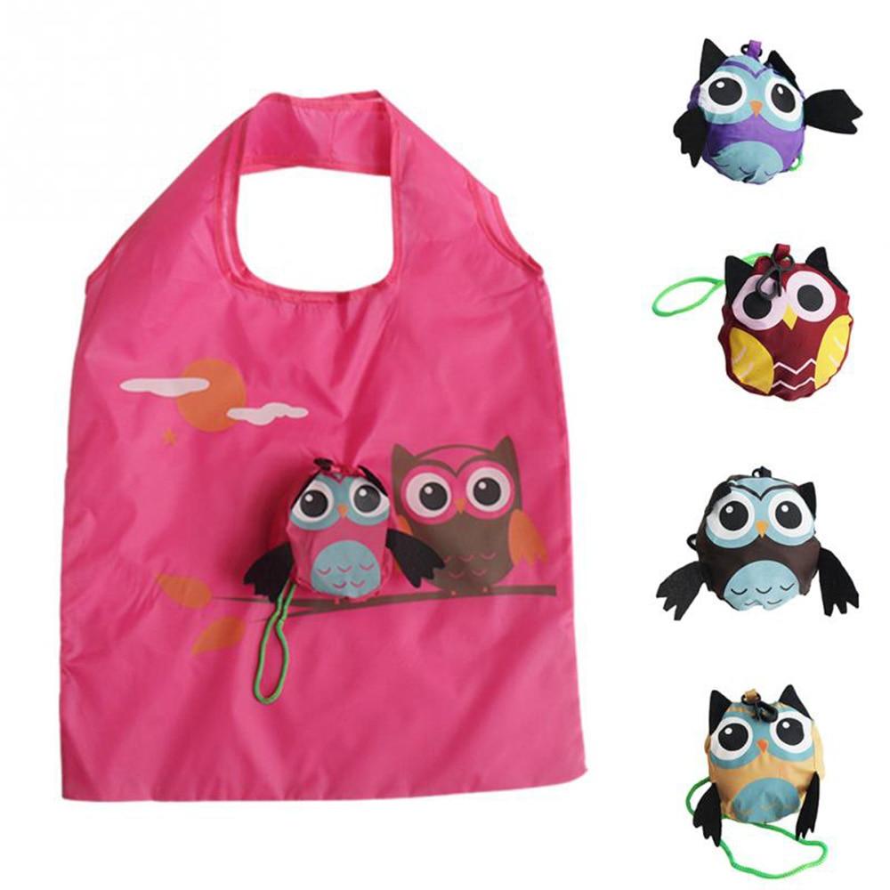 1PC Travel Folding Shopping Bag Owl Eco-friendly Tote Portable Reusable Animal