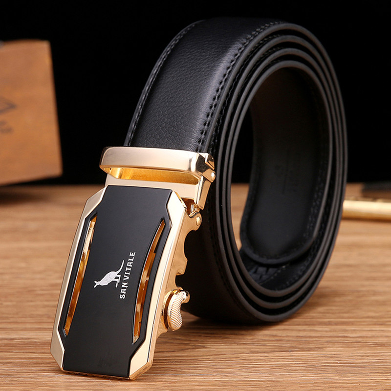 Mens Fashion Belt 2016 New Designer Automatic Buckle Cowhide Leather