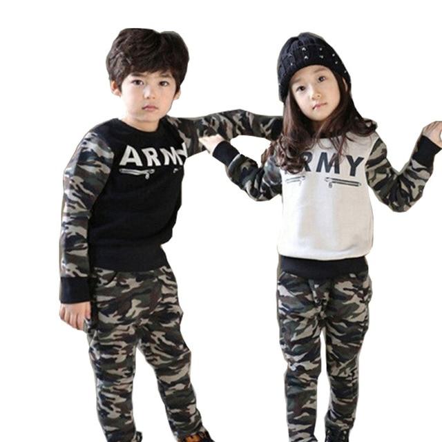 Kids Army Sets Military Army T-shirt + Pant Children Clothes 2015 Autumn  Camouflage Tracksuit Sport Suit Roupas Infantis Menino db41c5ceff5