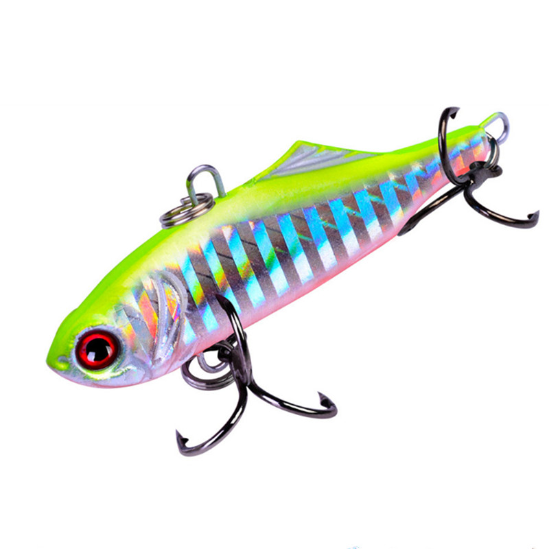 1PCS Metal VIB Fishing Lures 6.5cm/14.2g Bionic Laser Hard Bait Vibration Lure Crankbait Fish Bass Wobbler Bait Treble Hooks