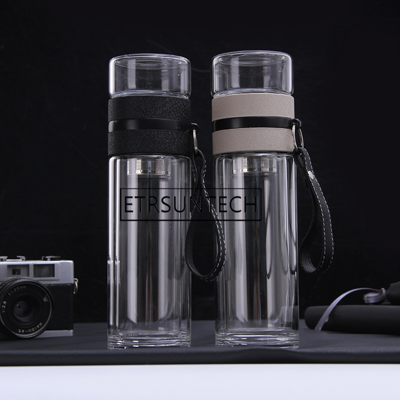 30pcs Travel Drinkware Portable Double Wall Glass Tea Bottle Tea Infuser Glass Tumbler Stainless Steel Filters Tea