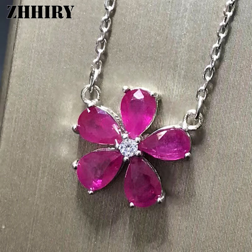 ZHHIRY Genuine Natural Ruby Gemstone S925 Sterling Silver Necklace Pendant For Women Flower Shape Fine Jewelry stylish rhinestoned flower spiral shape pendant necklace for women