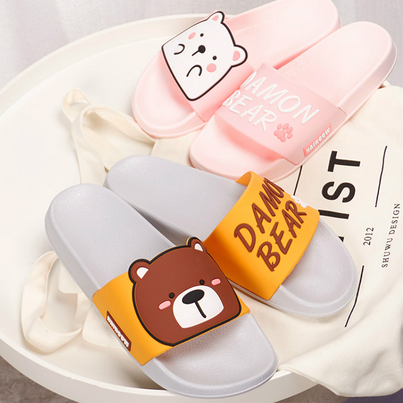 Cartoon Women Summer Slippers Cute Damon Bear Soft Sole Slides Home Slippers Indoor & Outdoor Sandals Women Shoes Flip Flops(China)
