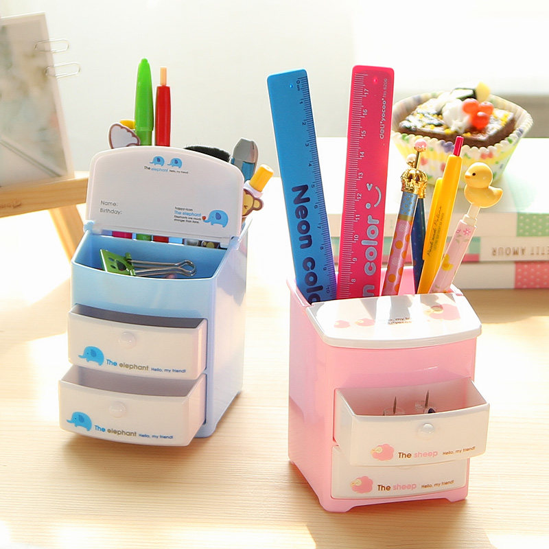 Brand New Mini Plastic Pen Holder For Desk Two Layer Drawer Pencil Stand Organizer Storage Office Desktop Stationery Pen Pot