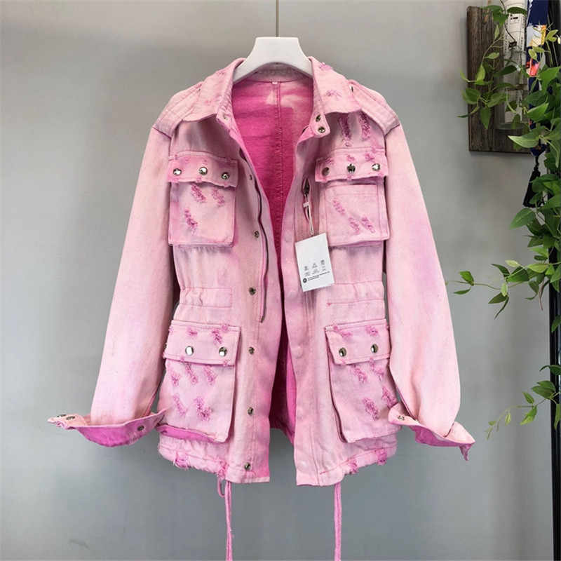 2019 Autumn Women's Denim Jacket Pink Casual Female Windbreaker Vintage Medium length Jean Jacket Hole Bomber Jackets Outwear 62