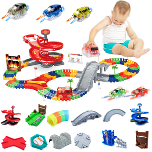 Create A Road Toy Magical Flexible Race Car Track Set Accessory and LED Race cars glow in the dark Racetrack Educational playset