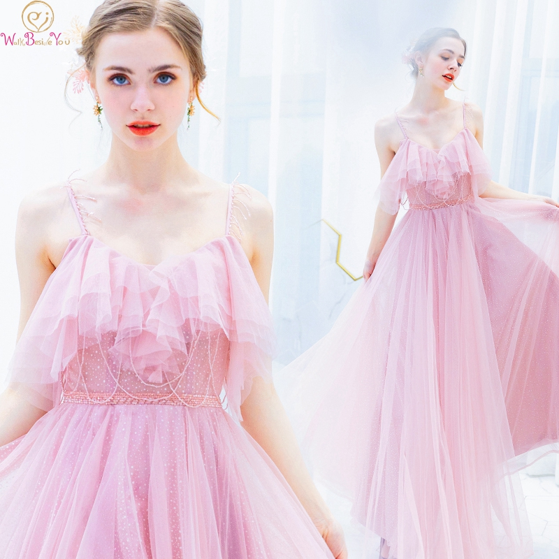 Elegant Pink Princess Formal Party Girls   Prom     Dresses   2019 Long vestidos de gala Spaghetti Straps Evening Gowns Walk Beside You
