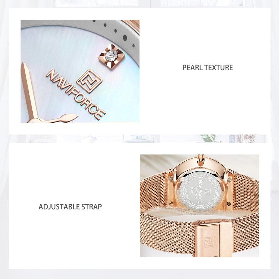 NAVIFORCE New Rose Gold Women Watch Business Quartz Watch Ladies Top Brand Luxury Female Wrist Watch Girl Clock Relogio Feminin (5)