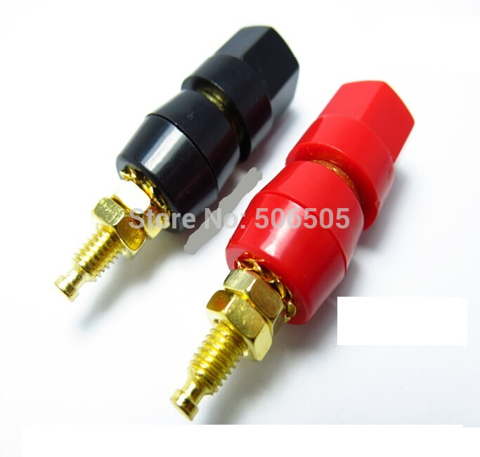 Gold plated 1 pair Amplifier Terminal Binding Post Banana Audio Plug Jack 4mm