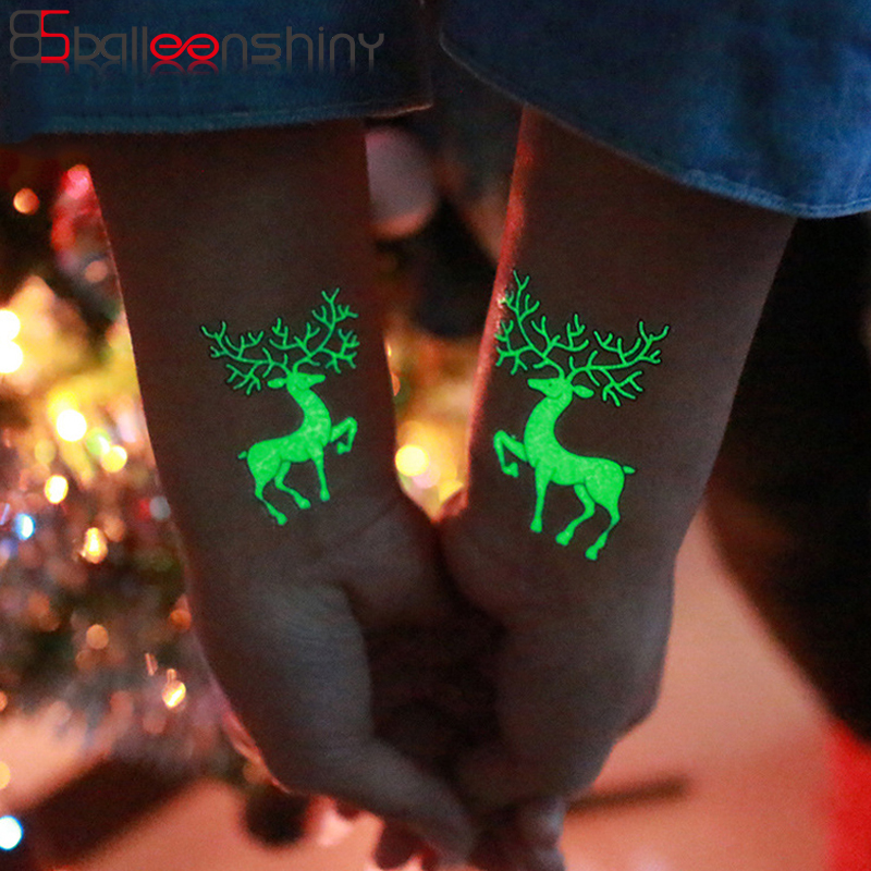 BalleenShiny Luminous Tattoos Glow In The Dark Children's Temporary Tattoos Kids Christmas Fluorescent Waterproof Cute Stickers