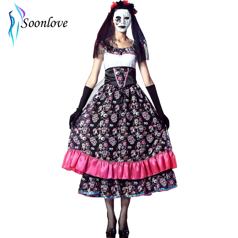 hot sale halloween spanish lady day of dead costume l15408 - aauraus