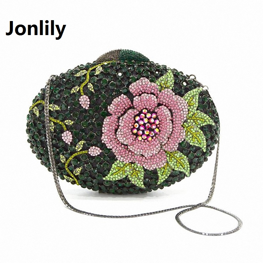Jonlily 2017 new Flower Diamond bag women bridal accessories banquet evening bag female Crystal Clutch bag party purse LI-312 luxury crystal clutch handbag women evening bag wedding party purses banquet
