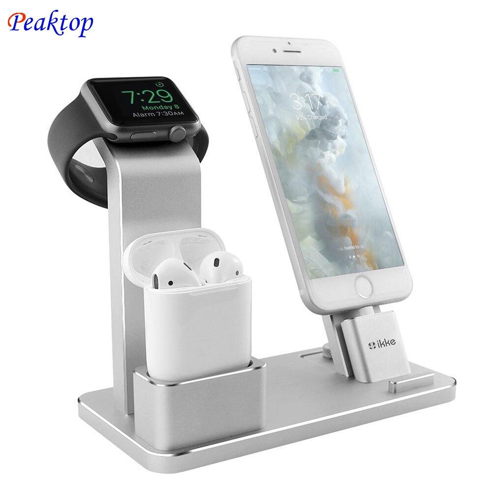 Peaktop Charging Dock Station Supporto Del Basamento per L'aria IPad AirPods Mini di Apple orologio iWatch 38mm 42mm iPhone X 8 7 6 6 S 5 S SE più