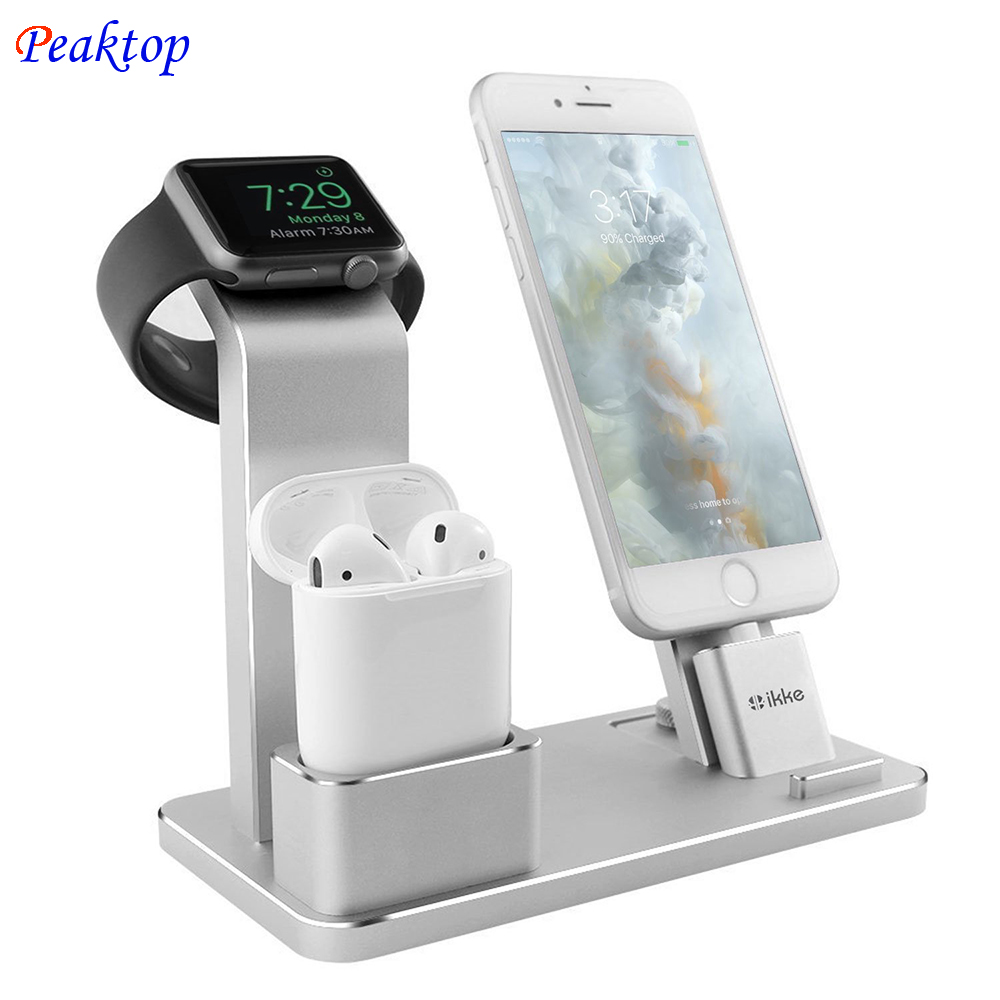 Peaktop Station De Recharge Support pour AirPods IPad Air Mini Montre Apple iWatch 38mm 42mm iPhone X XR XS MAX 8 7 Plus