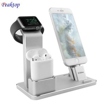 Peaktop de carga Estación de muelle de soporte para los AirPods IPad aire Mini Apple iWatch reloj de 38mm 42mm iPhone X XR XS MAX 8 7 Plus