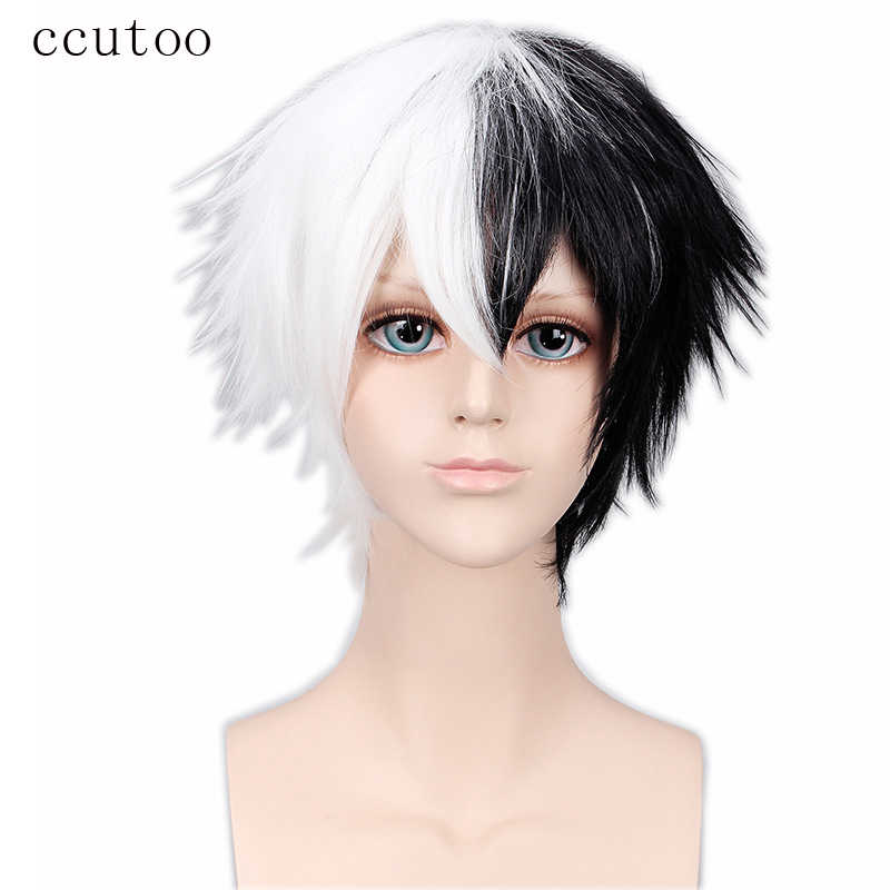 "ccutoo 12"" Bungo Stray Dogs Kyuusaku Yumeno Dangan ronpa Monokuma Short Black White Synthetic Cosplay Hair Wigs Heat Resistance"