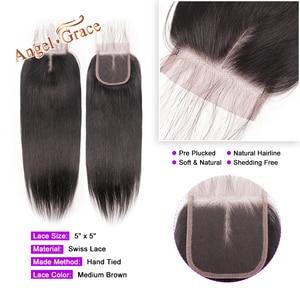 Image 3 - Melek Grace saç 5x5 düz dantel kapatma ücretsiz/orta kısmı İnsan saç doğal renk brezilyalı Remy saç kapatma ile bebek saç