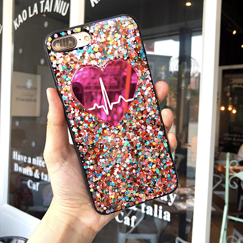 Bling Glitter Love Heart Phone Iphone 6 S 6S 7 8 Plus Soft Silicone Colorful Cover For Iphone X Woman Cute Case