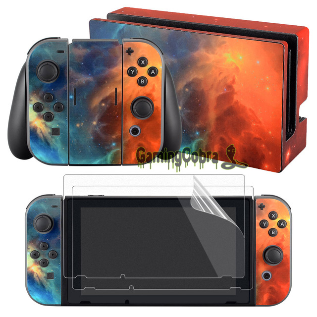 eXtremeRate Cosmic Nebular Skin Sticker Covers 2 Pcs Screen Protectors