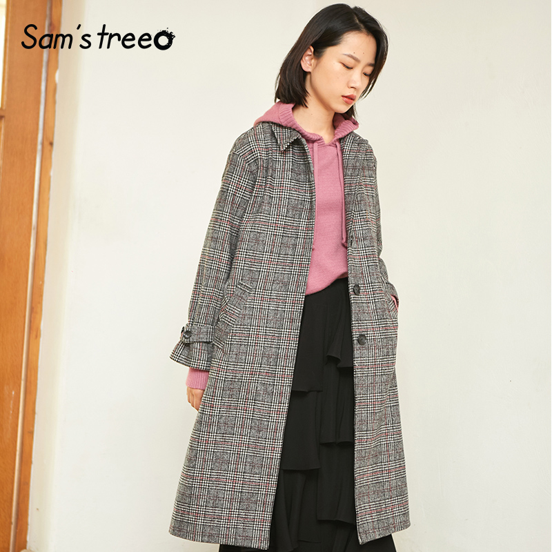Samstree 24 2 Wool Female Coat Plaid Winter Extra Long Coat Loose Turn down Collar Plaid