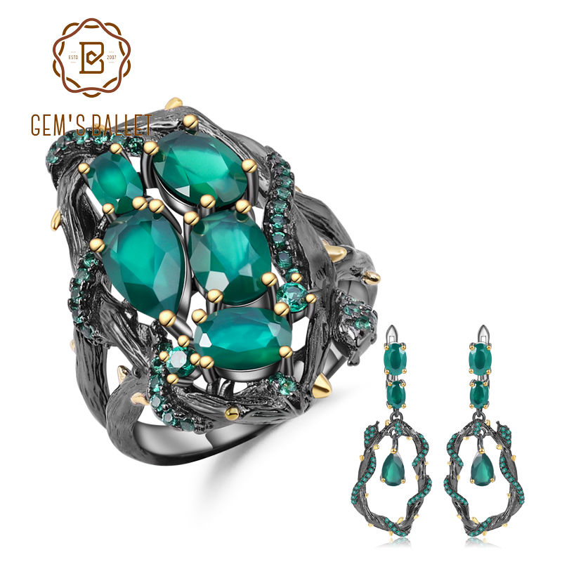 GEM S BALLET Natural Green Agate Gemstone Vintage Jewelry Set 925 Sterling Silver Original Handmade Ring