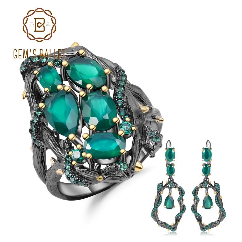 GEM S BALLET Natural Green Agate Gemstone Vintage Jewelry Set 925 Sterling Silver Original Handmade Ring
