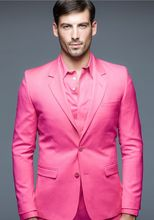 New Arrival Hot Pink Men Suits Custom Made Slim Fit Wedding Prom Tuxedos 2016 Bridegroom Best Man Morning Suit Jacket+Pants