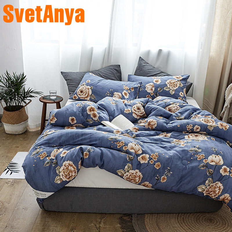 Svetanya Flowers Print Quilt Cotton warm Throws Blanket blue Plaids thick Bedding Filler Queen Full King