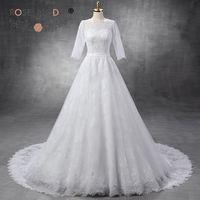 Scalloped Bateau Neck 3 4 Sleeves Lace A Line Wedding Dress V Back Three Quarter Sleeves